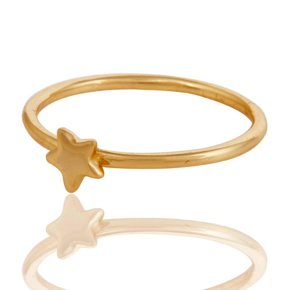 Cute Simple Fashion Jewelry 18k Gold Plated Handmade Little Star Design Ring
