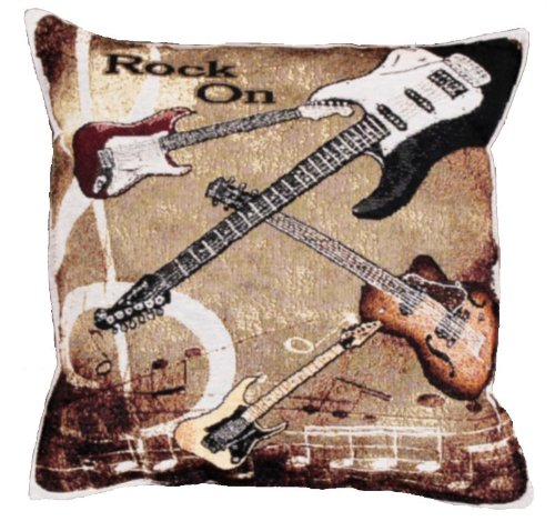 Rock On Guitar Tapestry Pillow