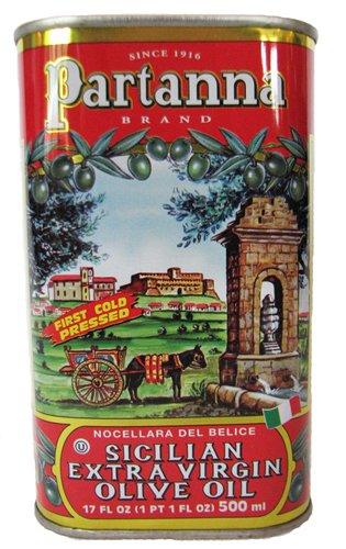 Partanna, Extra Virgin Olive Oil Tin, 16.9 Fl Oz by Partanna