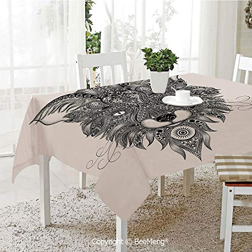 BeeMeng Spring and Easter Dinner Tablecloth,Kitchen Table Decoration,Celtic Decor,Sharp Eyed Fox Head Portrait Ethnic Mask Celtic Animal Pattern Decor Asian Style Image,Black Ecru,59 x 83 inches
