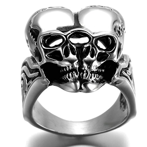Stainless Steel Ring for Men, Couples Dead Head Ring Gothic Silver Band 2532MM Size 9 (Oster 18 Teeth)