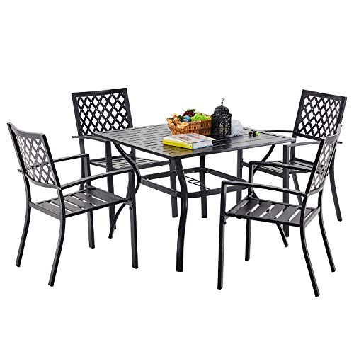 VICLLAX Patio Dining Set, 5 Pcs Outdoor Dining Table with Umbrella Hole and 4 Stackable Dining Chiars, Black