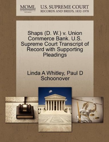 Shaps (D. W.) v. Union Commerce Bank. U.S. Supreme Court Transcript of Record with Supporting Pleadings
