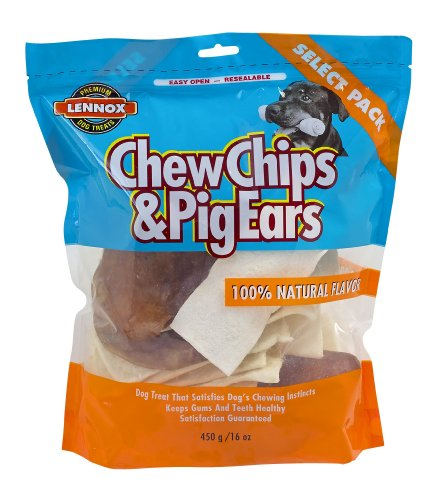 Lennox Select Pack Pig Ears and Natural Rawhide Chips, 1-Pou