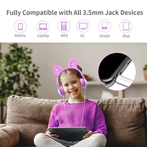 LOBKIN Kids Headphones,Unicorn Cat Ear Wired Foldable Headphones for Kids Over-Ear/On-Ear for Boys Girls, Adjustable 85dB Volume Control, Childrens Game Headphones for School/Tablet (Purple)