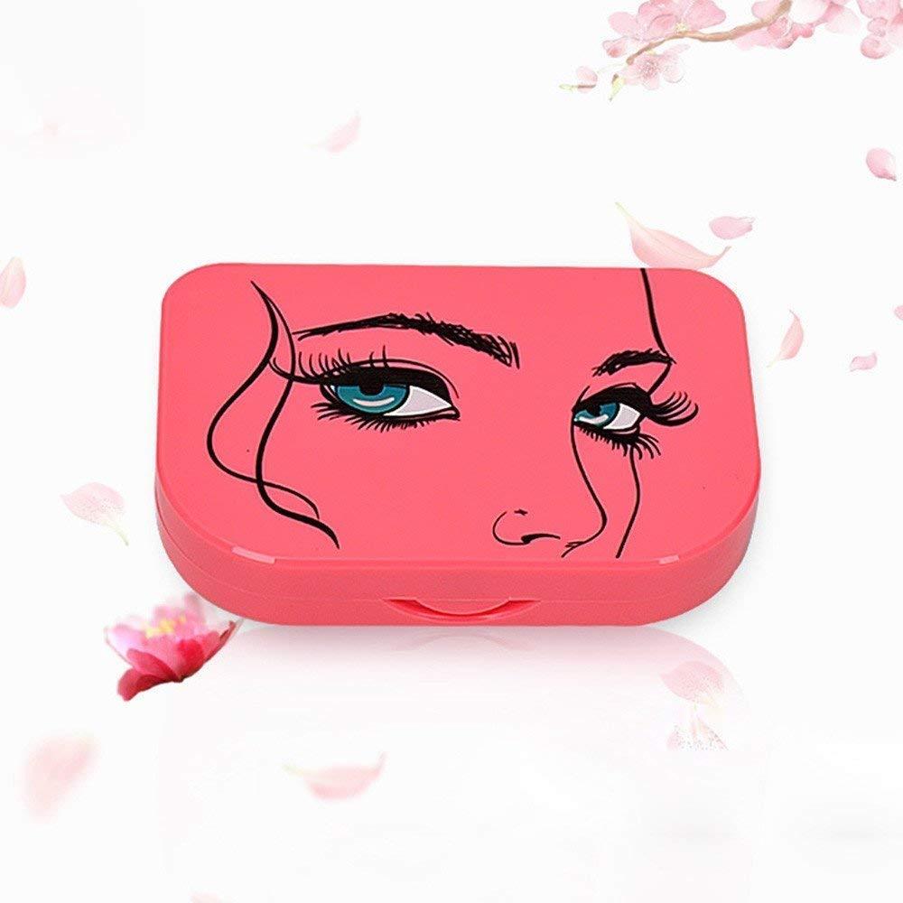 Weite Pink Eyelash Case with Mirror, 3-Tier Cute False Eyelash Storage Container Convenient Eyelash Holder Case Organizer Box Large (Dark Pink)