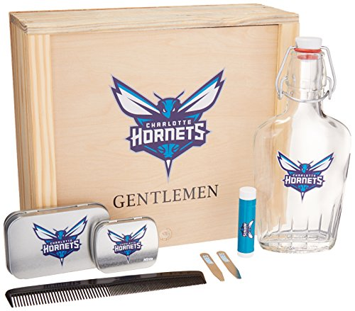 NBA Charlotte Hornets Gentlemen's Gift Box Toiletry Edition 1- 250 ML Glass Swing-Top Bottle, 2 - Brass Collar Stays, 1- Tissue Pack, 1- Comb, Tan, 10