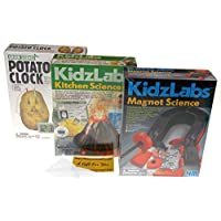 Hickoryville KidzLabs Science Bundle - Potato Clock, Kitchen Science & Magnet Science