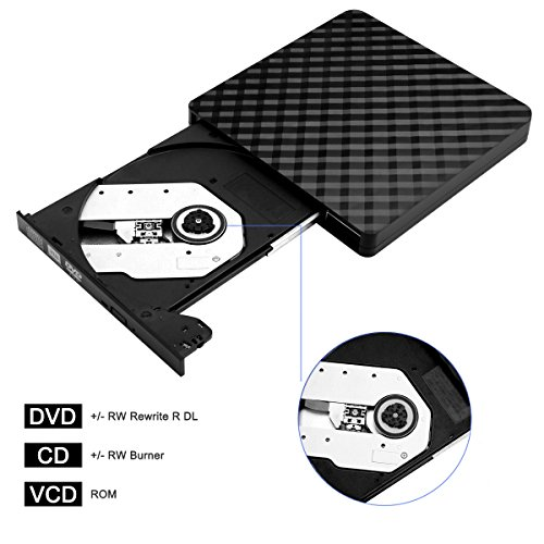 External CD Drive, BEVA USB 3.0 Portable CD DVD Reader DVD Drive External CD DVD Player Burner RW Writer, Copier for Laptop, Desktop, Mac, Support Windows 7/8/ 10/ XP/Mac OS by BEVA (Image #3)