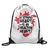 Wonderfly A Strong Heart Is An Healthy Heart Trval White Shoulder Bags Polyester Drawstring Bag