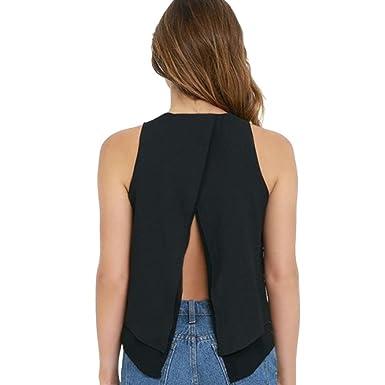 f3aef668a0e Wanshop Women Sleeveless Solid Chiffon Vest Top Ruffles Shirt Ladies Casual  Loose Solid Color Cami Tank