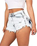 Ferbia Womens High Waisted Distressed Shorts Stretch Ripped Denim Jeans With Pockets