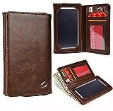 NuVur Universal Bi-FOLD Universal Men Wallet Case Cover Fits HTC One X, One X+|Brown