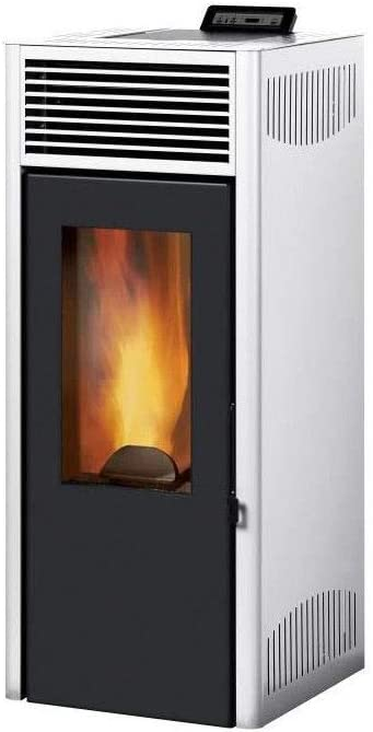 Gris Flamme Verte 7* Acier rendement : 90/% Invicta NOLA 8-8 KW poele a granul/és /étanche modulable de 3,1 a 8 KW
