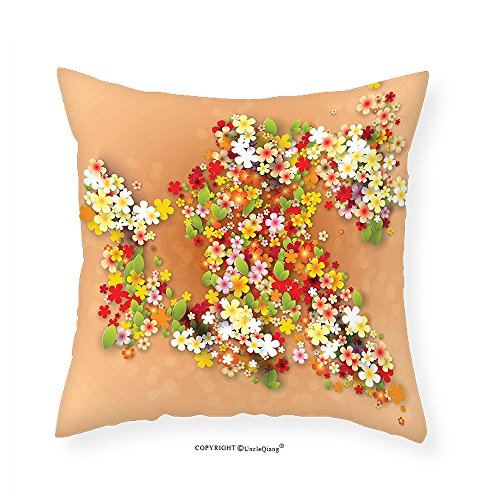 VROSELV Custom Cotton Linen Pillowcase Floral Decor Summer Sale Banner with Paper Flowers and Black Frame Illustration for Bedroom Living Room Dorm Orange Red and White 18