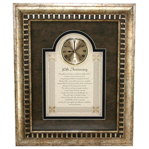 General Sentiments Framed Wall Clocks 50th Anniversary 15