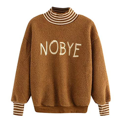 ZTTONE Womens Casual Solid Letters Embroider Long Sleeve Sweatshirt Pullover Top Blouse