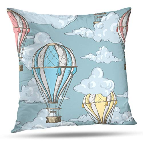 HAPPYOME Decorative Throw Pillow Covers with Balloons and Clouds Sky Balloon Air Hot Vintage Blue Cute Baby RetroPillow Case Cushion Cover for Bedroom Livingroom Sofa 18X18 Inches ()