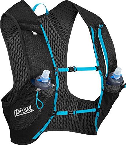 CamelBak Nano Vest 17 oz Quick Stow Flask Hydration Pack, Medium, Black/Atomic Blue
