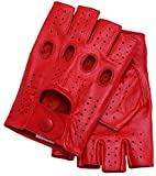 Riparo Motorsports Men's Fingerless Half Finger Driving Fitness Motorcycle Cycling Unlined Leather Gloves (X-Large, Red)