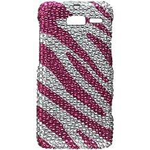 Aimo MOTXT907PCLDI686 Dazzling Diamond Bling Case for Motorola Droid RAZR M XT907 - Retail Packaging - Zebra Hot Pink/White