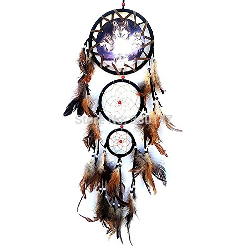 [Indian Wolf Head Dream Catcher for Car Feathers Hanging Craft Dreamcatcher Decoration Ornament] (Gothic China Doll Costume)