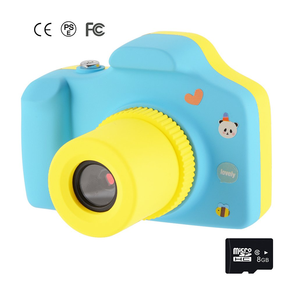 Memoru Kids Digital Camera 1.5 Inch Screen HD Mini Children Camera Toy Action Camera Camcorder with 8GB Micro SD Card (Blue) Cute Birthday/Christmas Gifts for Kids