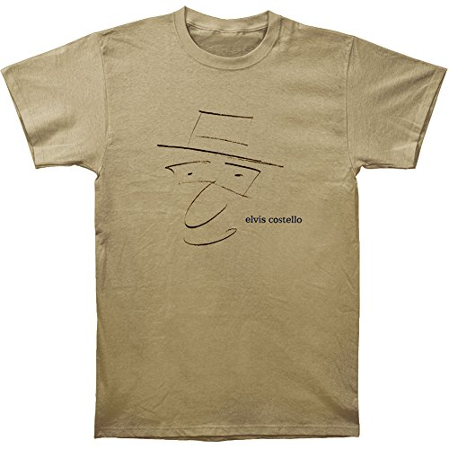 Elvis Costello Men's Drawing T-shirt Medium Brown