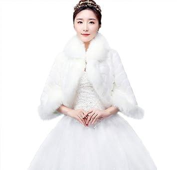 Capa de piel sintética de Jungen Wrap robó chal bolero abrigo para invierno bodas novia accesorios blanco: Amazon.es: Hogar
