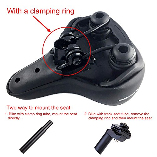 WOWOWO Bicycle Suspension Cruiser Saddle, Cruiser Gel Wide Comfort Soft Foam Bike Seat