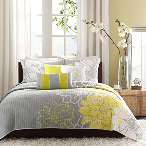Madison Park Lola Cal King Size Set-Yellow, Grey, Floral, Flowers - 6 Piece Sateen, Cotton Poly Crossweave Bed Quilted Coverlet, King -