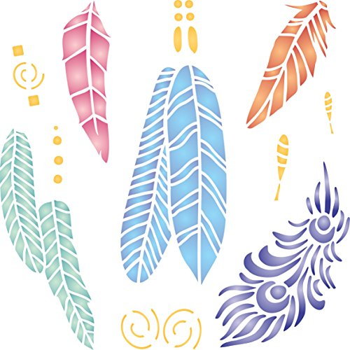 """Feathers Stencil - (size 5""""w x 5""""h) Reusable Wall Stencils for Painting - Best Quality Decor Ideas - Use on Walls, Floors, Fabrics, Glass, Wood, and (Feather Stencil)"""