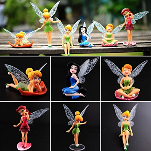Tinker Bell Figures 6 Pcs, Cake Topper Figurines Play Set Toys + Bonus Assorted Stickers -