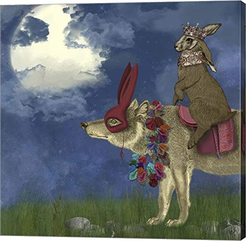 Arrival of The Hare King by Fab Funky Canvas Art Wall Picture, Gallery Wrap, 14 x 14 inches