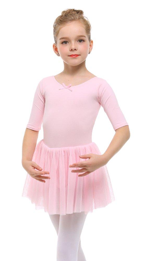 STELLE Toddler/Girls Cute Tutu Dress Leotard Dance, Gymnastics Ballet(S, Pink)