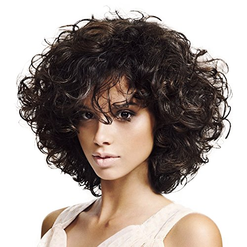 ELIM Wigs for Black Women Short Curly Wigs with Bangs Black and Brown African American Kinky Curls Wig Z143]()