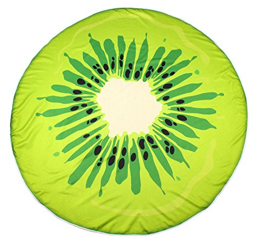FLY SPRAY Large Round Beach Towel Blanket 60'' Thick Microfiber Print Colorful Cute Fruit Pattern Shawl Vacation Camping Mat Kiwi (That Into Turn Sale Beds For Couches)
