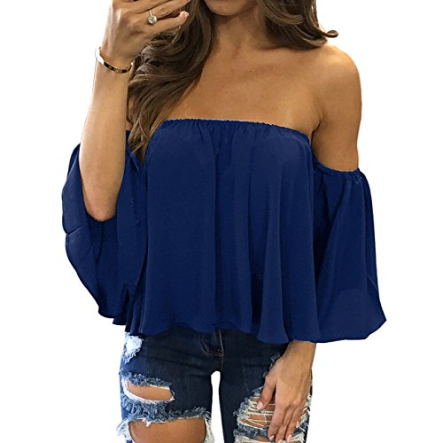 zdzdy Women Short Sleeve Off Shoulder Blouse Casual Pleated Ruffle Blouse Top Shirt(XL,Blue)