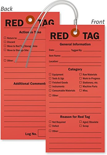 (Red 5S Tag - Double-Sided 13pt Paper, Preprinted 13pt Cardstock Tag, 100 Tags/Pack, 3.25