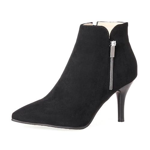 Très bien OALEEN Bottines Pointues Femme Sexy Talon Haut suède Chaussures @SG_61