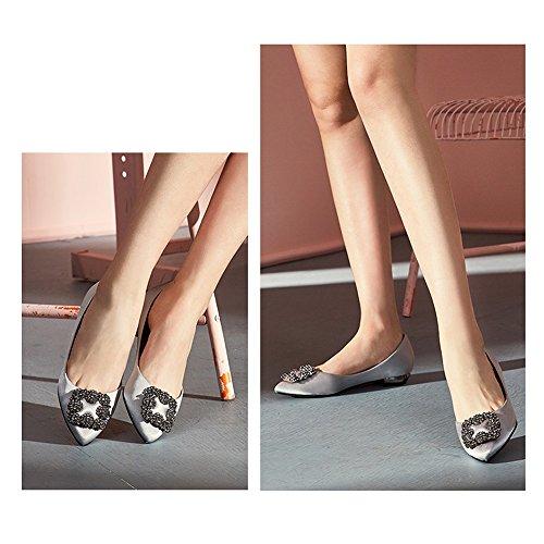 Retro Sommer Hochzeit Flache Pink 5 Ziemlich größe Grau Flache Schaufel Strass Sandalen Schuhe Uk4 YQQ Wild Farbe Brautschuhe Weibliche Schuhe 5 Schuhe EU37 Schuhe Gemütlich qd74ccwx0X