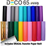"VViViD Deco65 12"" x 5ft Multi-Color Adhesive Craft Vinyl Bundle Including 12"" x 24"" Transfer Paper Roll for Cricut, Silhouette & Cameo (6 roll Bundle)"