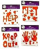 Halloween Bloody Drip Splatter Window Gel Clings - Pack of 4
