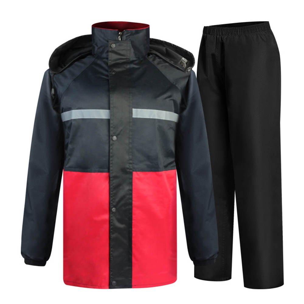 レインコート、ポンチョ、レインギア 男性と女性の屋外防水レインコートスーツ乗馬フード付きポンチョ防水作業警告服 完全防水、防風、防風、そして耐久性 (サイズ : XL) B07RT15HX4  X-Large