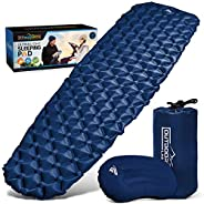 OutdoorsmanLab Ultralight Sleeping Pad - Ultra-Compact for Backpacking, Camping, Travel w Air-Support Cells De
