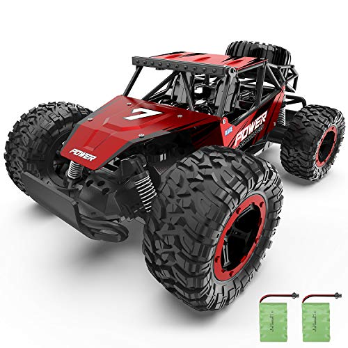 RC Car, Kids Remote Control High Speed Off Road Hobby Crawler 1:14 Al-Alloy Boy RC Controlled Car Large Size Electronic Racing Vehicle Truck for Kids Teens and Adults with Two Rechargeable Batteries