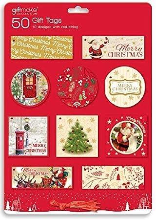 50 x etiquetas de regalo de Navidad tradicional de Papá Noel ...