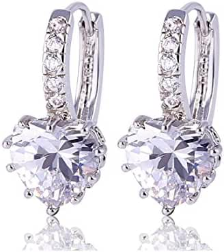 GULICX White Gold Tone Heart White Crystal Cubic Zirconia Huggie Lever Back Hoop Earrings