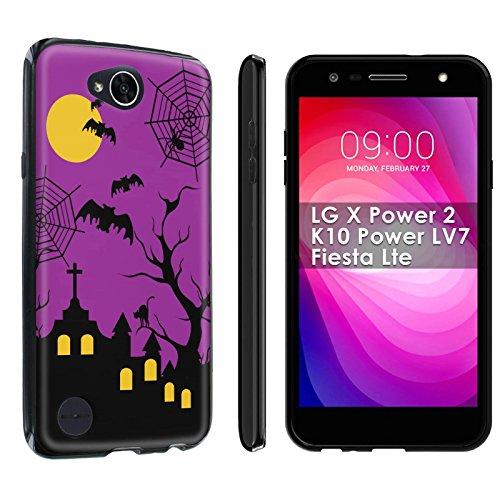 [POPCulture] Gummy Gel For LG X Power 2/K10 Power LV7/Fiesta Lte [Black] Total Shock Absorption Bumper Slim-Fit Flexible TPU [Screen Protector]- [Halloween] Print (Fiestas Halloween En Casa)
