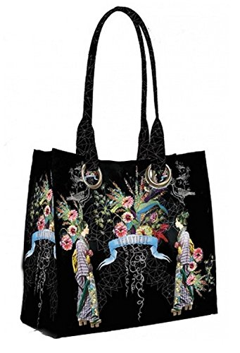 Papaya Art Beautiful Arm Candy Kimono Black Oil Cloth Vegan Tote Handbag (Kimono Bag Purse)